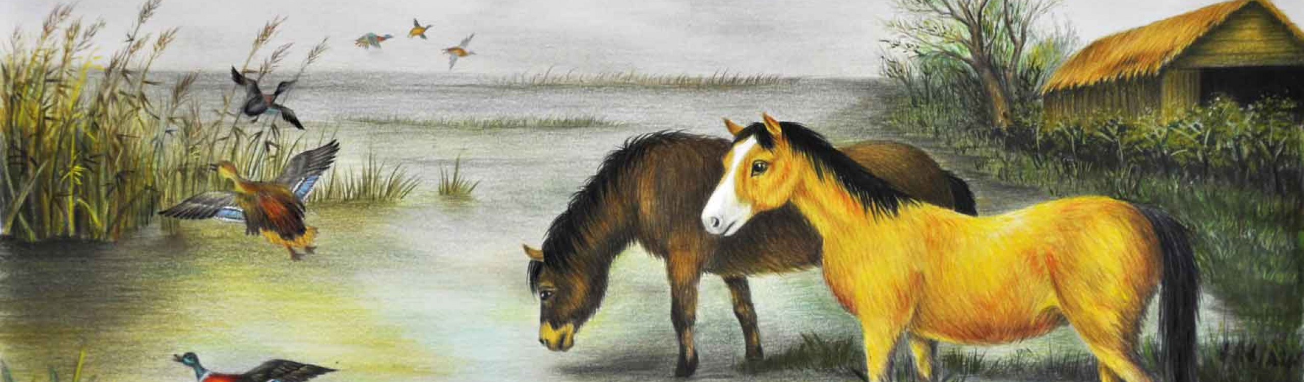 تابلوی اسب ها لب برکه