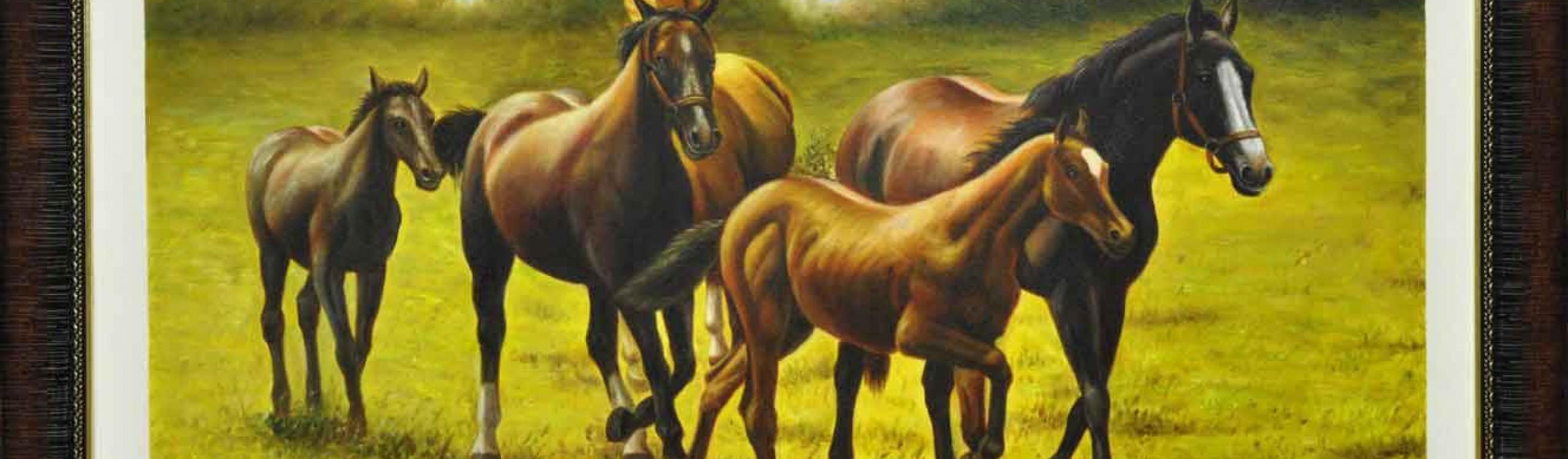 تابلوی زیبای اسب ها